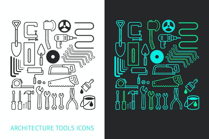 Thumbnail for Architecture and Construction Tools Icons Set.