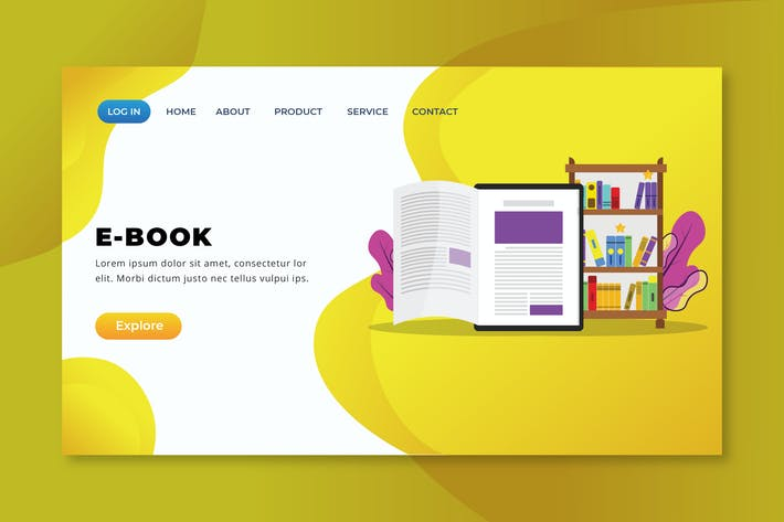 Thumbnail for E-Book - XD PSD AI Vector Landing Page