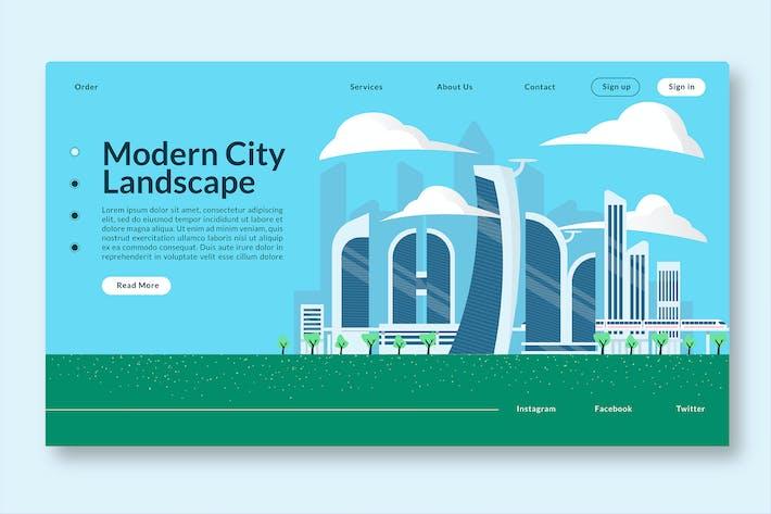 Thumbnail for Modern City Landscape - Web Header Landing Page GR