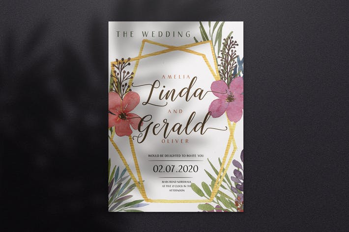 Thumbnail for Watercolor Wedding Invitation A4 - Style 03