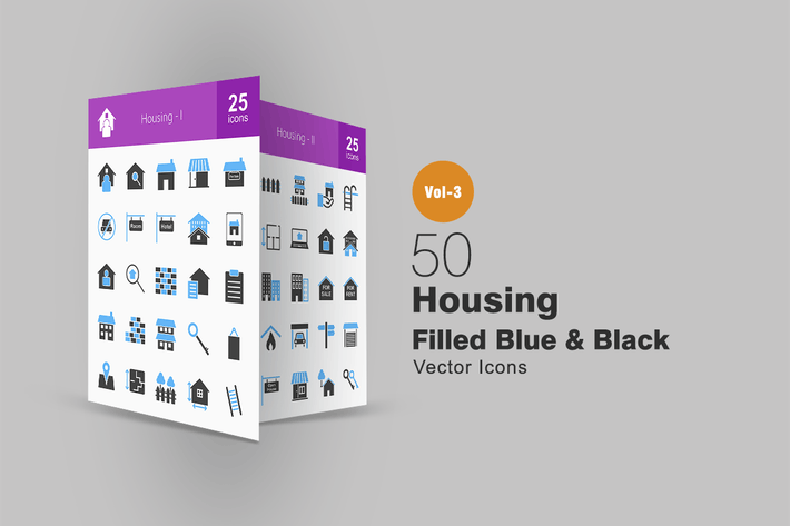 Thumbnail for 50 Housing Blue & Black Icons