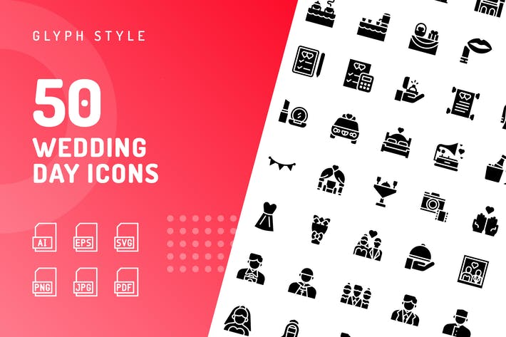 Wedding Day Glyph Icons