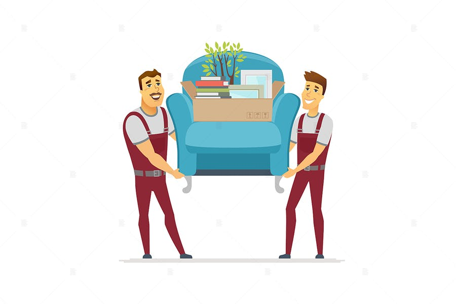 Moving service - colorful illustration