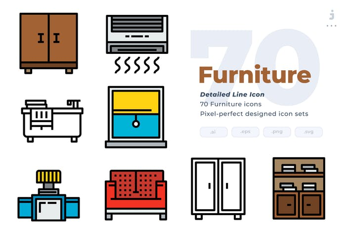 Thumbnail for 70 Furniture Icons - Detailed Line Icon
