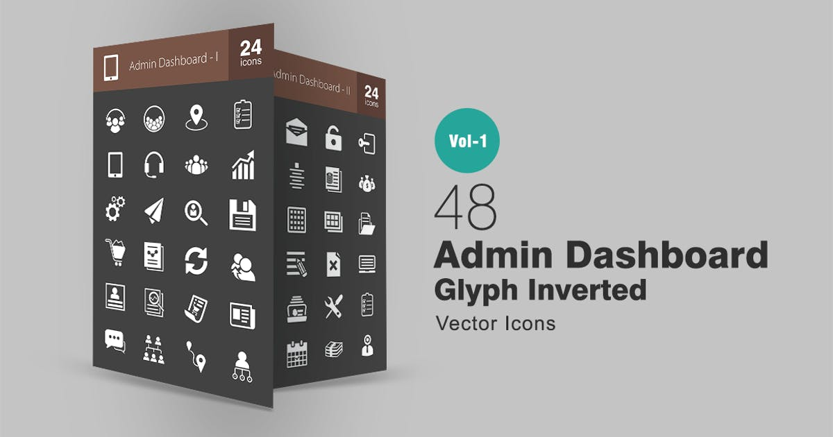 Download 48 Admin Dashboard Glyph Inverted Icons by Unknow
