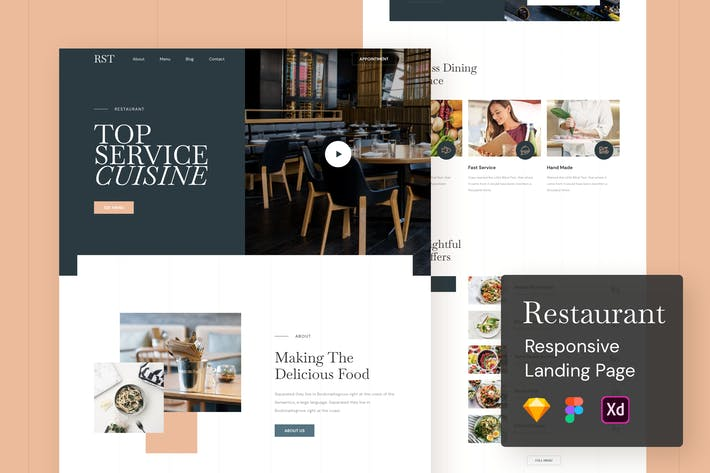 Cover Image For Restaurant Responsive Landing Page