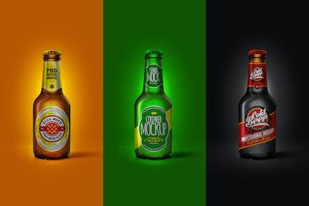 Cold Beer Bottle Mockup Brown Green Black 20cl Set