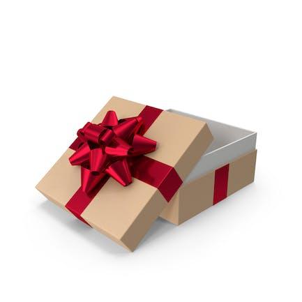 Caja de regalo con lazo abierto