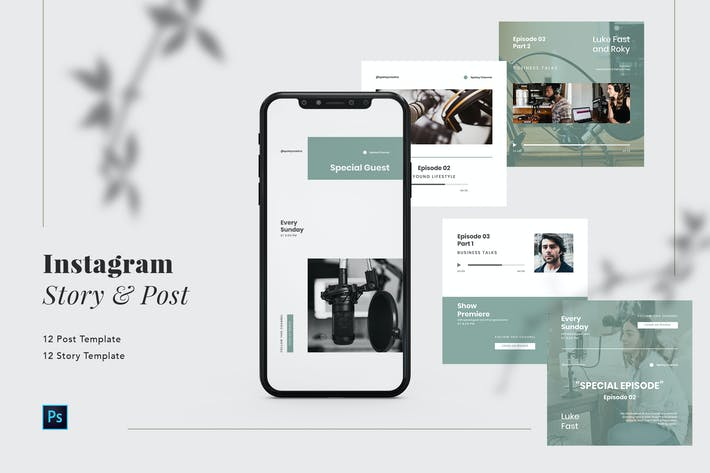 Thumbnail for Podcast Instagram Post and Story PSD Template