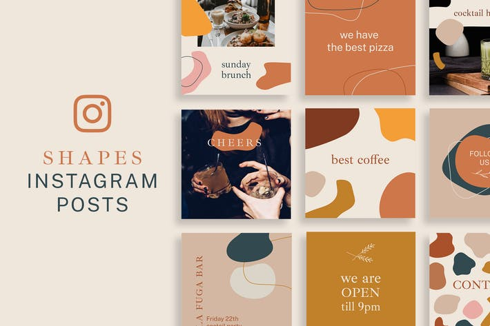 Thumbnail for Shapes Instagram Posts Template