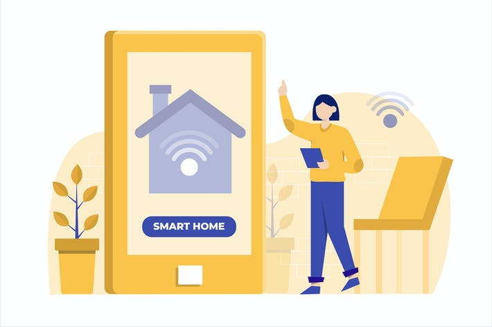 Thumbnail for Smart Home App Flat Vector Illustration