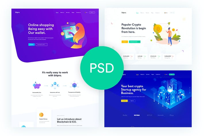 Thumbnail for Bitpro - Crypto Currency PSD Template