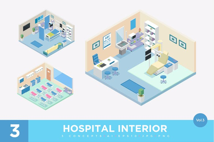 Thumbnail for 3 Isometric Hospital Clinic Interior Vector Set 3