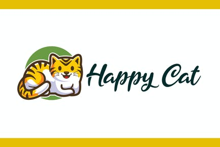 Cartoon Happy Cat Mascot Logo