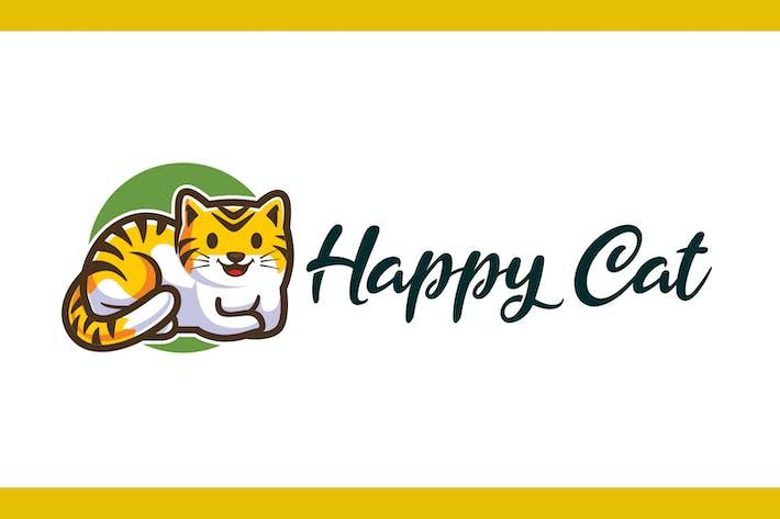 Thumbnail for Cartoon Happy Cat Mascot Logo