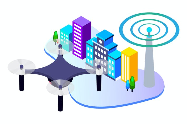 Cover Image For Automatic Drone Wireless Isometric Illustration