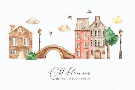 Aquarell Alte Häuser