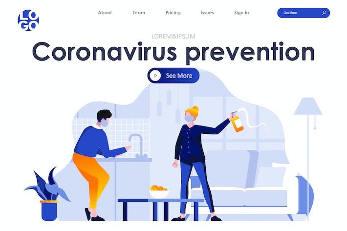 Thumbnail for Coronavirus Prevention Landing Page Flat Concept