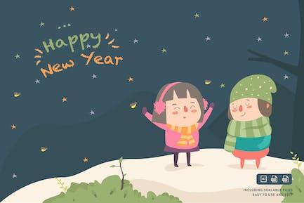 Frohes neues Jahr - Ilustration Vorlage