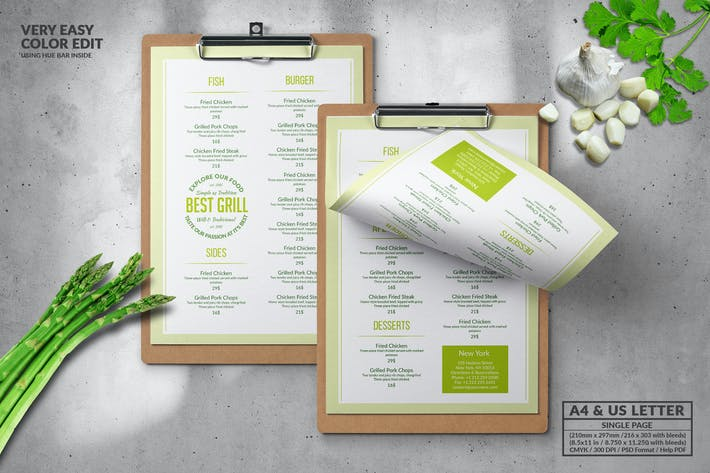 Cover Image For Minimal Single Page Food Menu Design