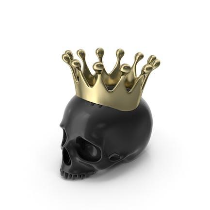 Schwarze Totenkopf-Kerze mit goldfarben