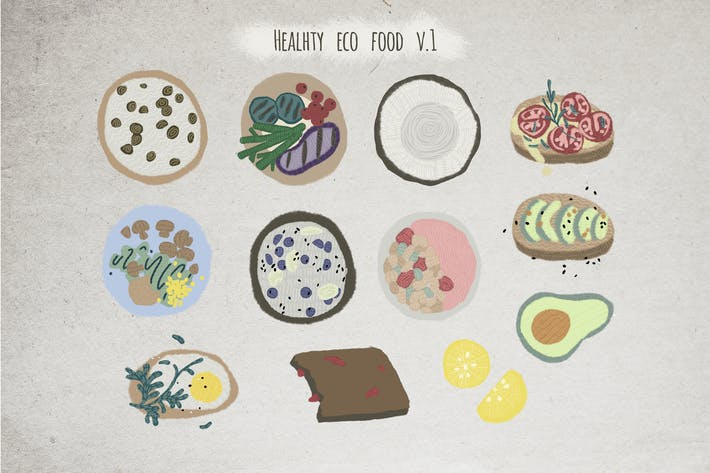 Thumbnail for Healthy eco food hand drawn illustrations set