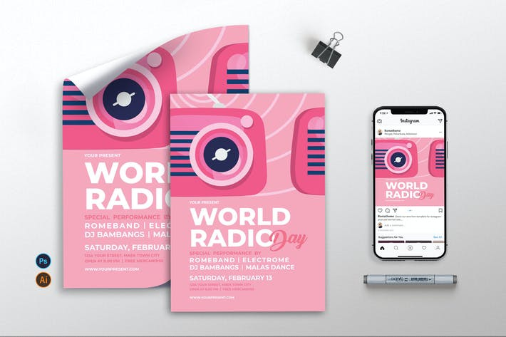 Thumbnail for World Radio Day - Flyer, Poster & Instagram AS