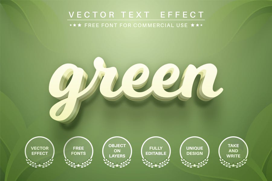 Green leaf - editable text effect,  font style