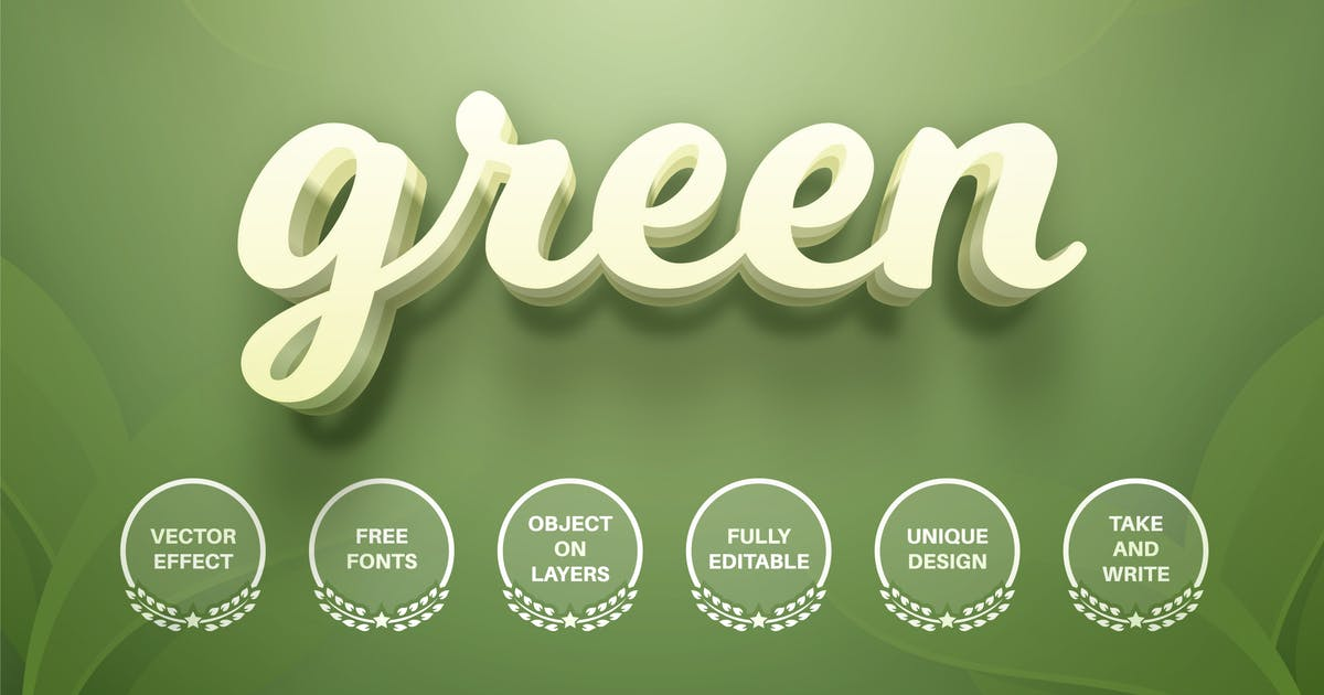 Download Green leaf - editable text effect,  font style by rwgusev