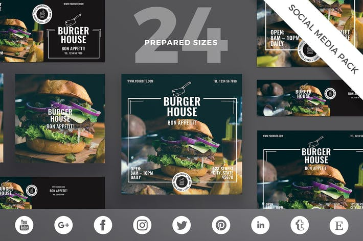Thumbnail for Burger Restaurant Social Media Pack Template