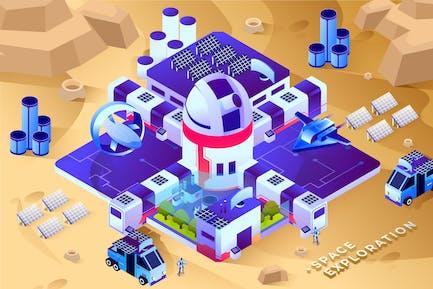 Space Exploration - Isometric Vector Illustration