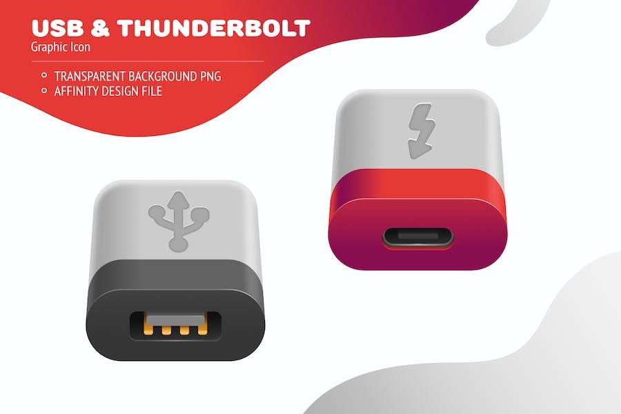USB drive and thunderbolt port