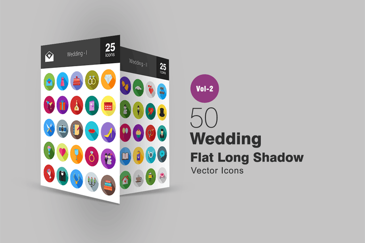 Thumbnail for 50 Wedding Flat Long Shadow Icons