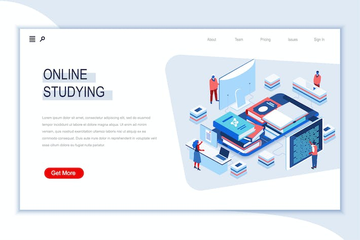 Online Studying Isometric Banner Flat Concept