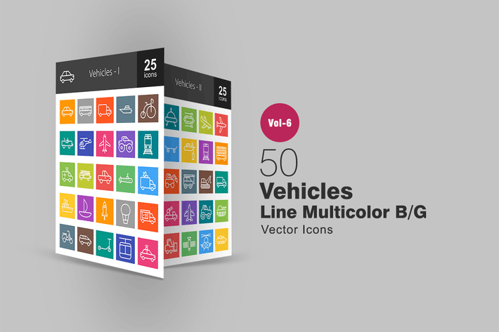 Thumbnail for 50 Vehicles Line Multicolor B/G Icons