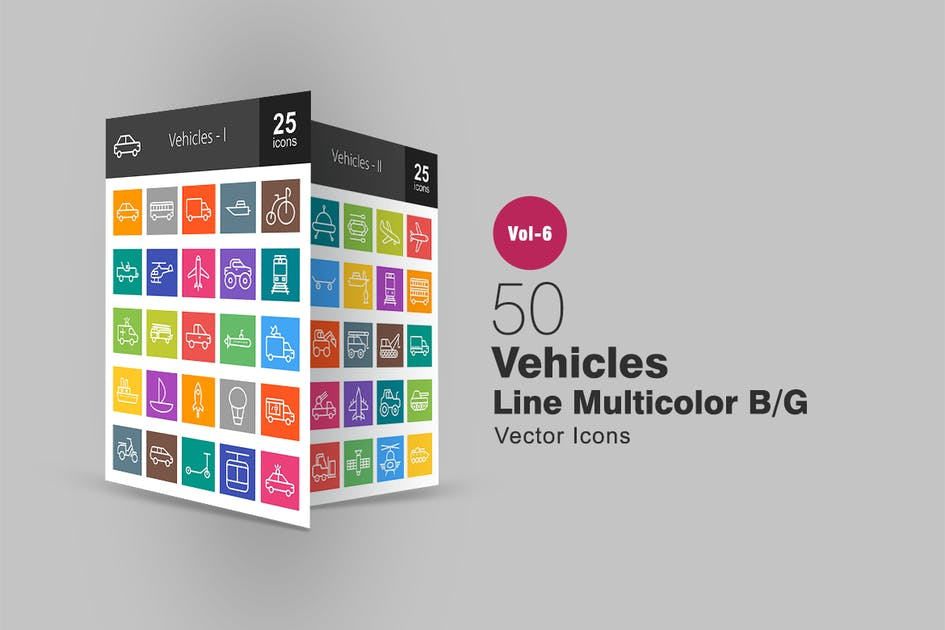 Download 50 Vehicles Line Multicolor B/G Icons by IconBunny