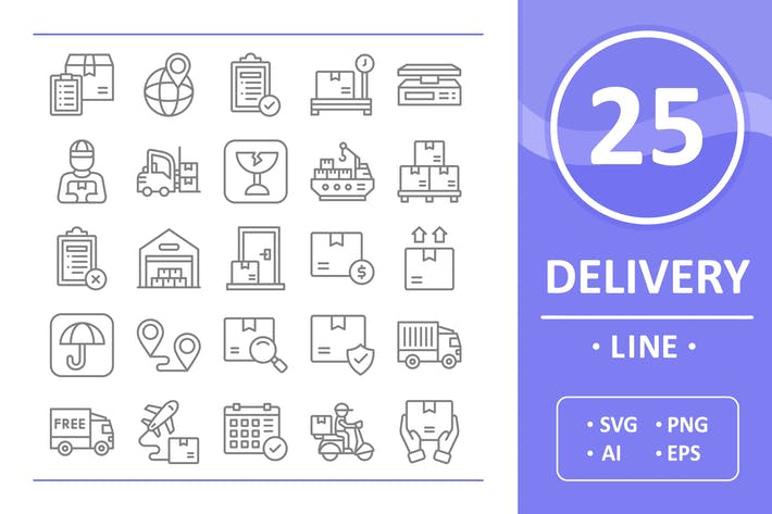 Thumbnail for 25 Delivery Icons - Line
