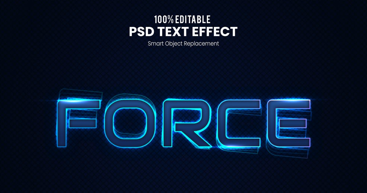 Download Force - Neon PSD Text Effect by nathatype