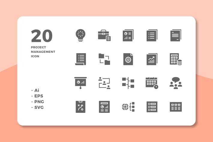 Thumbnail for 20 Project Management Icons (Solid)