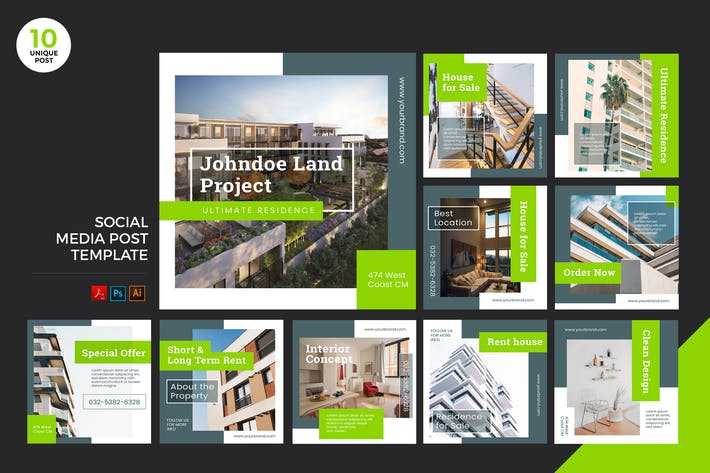 Thumbnail for Building For Sale Social Media Kit PSD & AI