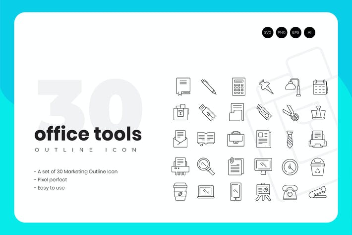 Thumbnail for 30 Office Tools Outline Icon Set