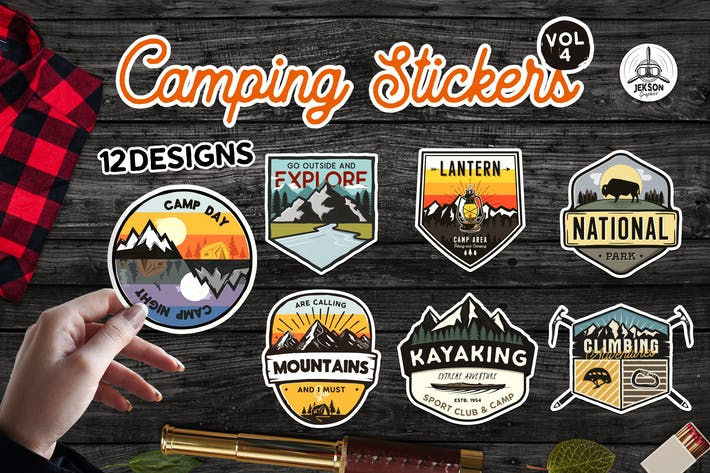 Thumbnail for Travel Stickers Bundle Vector Hiking Emblems Vol4