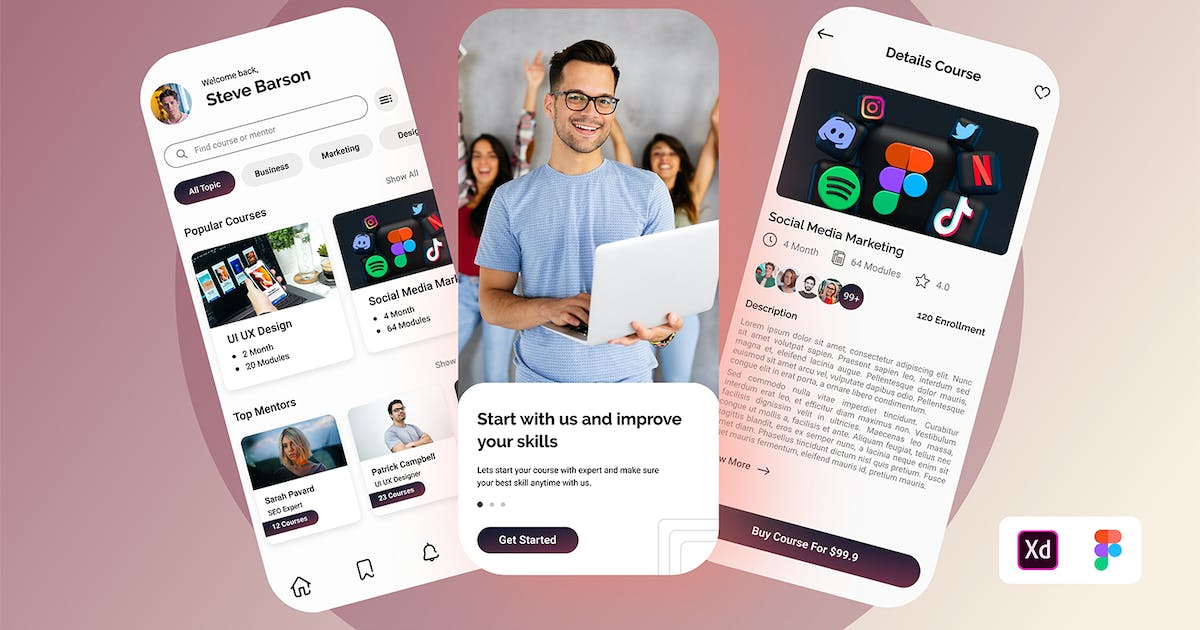 Download E-Academy Mobile UI by TempCraft