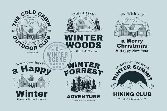 Thumbnail for Winter Scene Creator Monochrome Badges