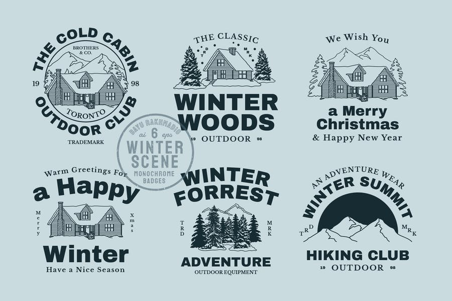 Winter Scene Creator Monochrome Badges