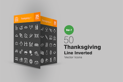 50 Thanksgiving Line Inverted Icons