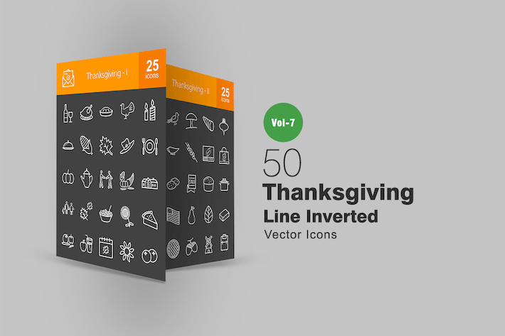 Thumbnail for 50 Thanksgiving Line Inverted Icons