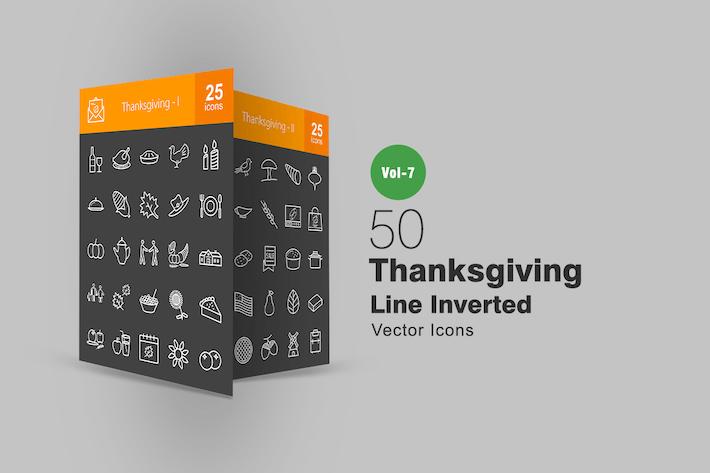 Thumbnail for 50 Íconos invertidos línea de acción de gracias