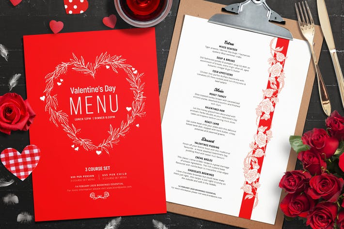 Disposition du menu Saint-Valentin