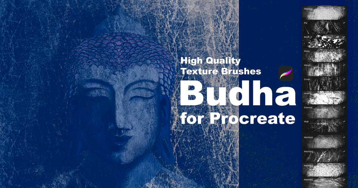 Download Texture Brushes for Procreate. Budha by a_slowik